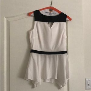 White and black satin top